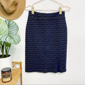 ANTHRO Maeve Hannon Textured Navy Pencil Skirt